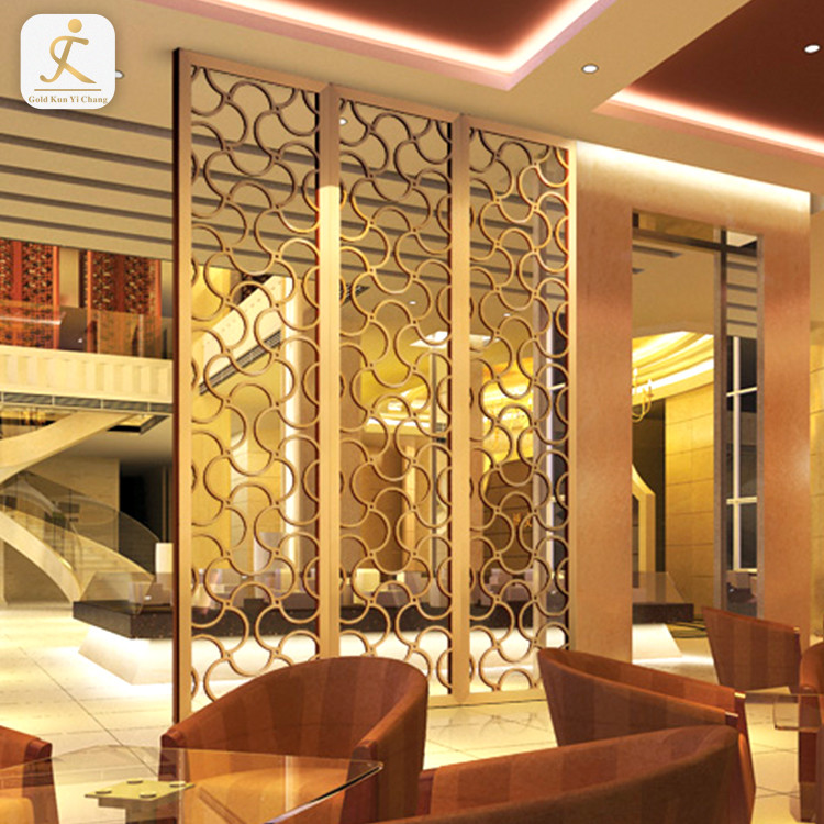 Golden stainless steel laser cutting freestanding screen divider decorative room partrition divider for hotel