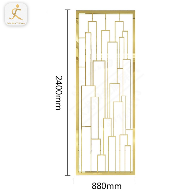 Home Decorative Laser Cut Golden Stainless Steel Room Divider Metal Manufacture Stainless Steel Screens Partition
