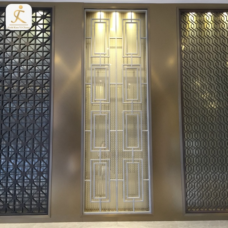 room interior design laser sheet metal rectangle mesh divider cutting hollow stainless steel screen indoor room divider