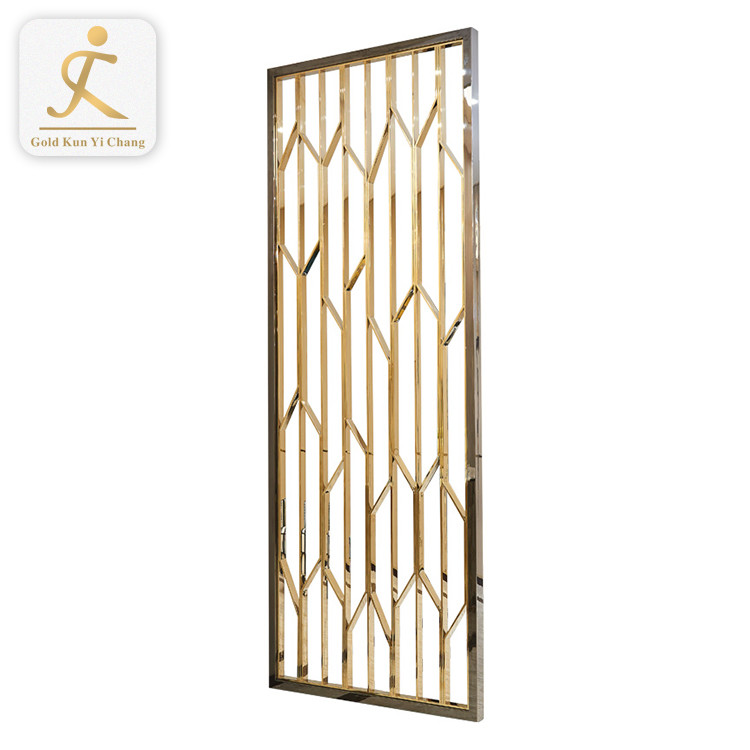 Custom metal fabricationlaser cutting leaf shape stainless steel screen metal room divider golden screen