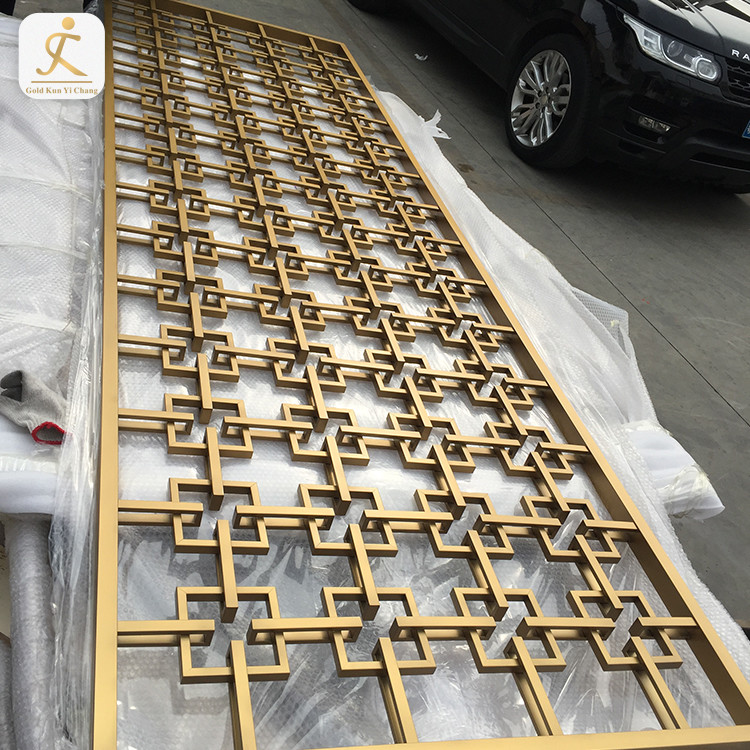 fashionable lattice design stainless steel rose gold freestanding screens living room fixed panel divider partition