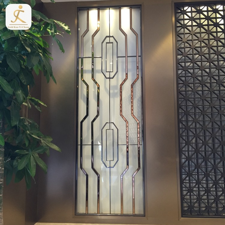 Panel Design Decorative Metal Partition Wall For Living Room Gold Stainless Steel Screen Laser Cut Metal Room Divider