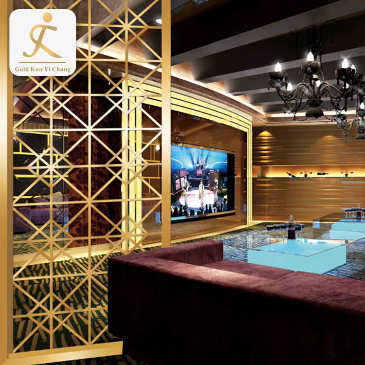 golden room divider metal decorative screen panel stainless steel modern fashion living room furniture room divider