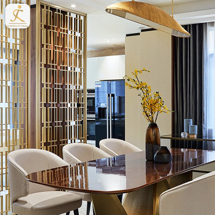 Living Room And Dining Metal Panels Stainless Steel Room Divider Laser Cut Decorative Interior Metal Screen Partition