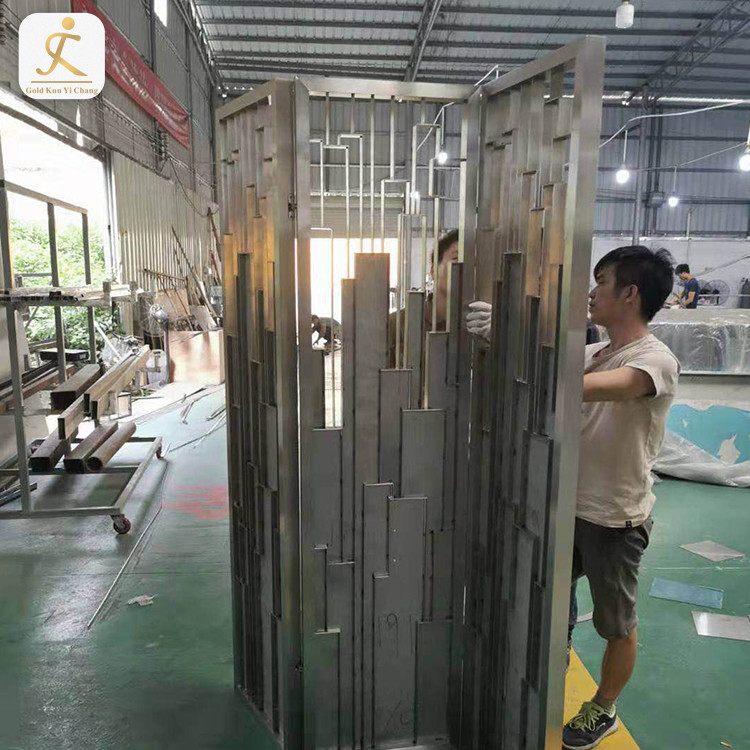 folding hall decorative metal room divider screen partition chinese antique freestanding foldable stainless steel room divider