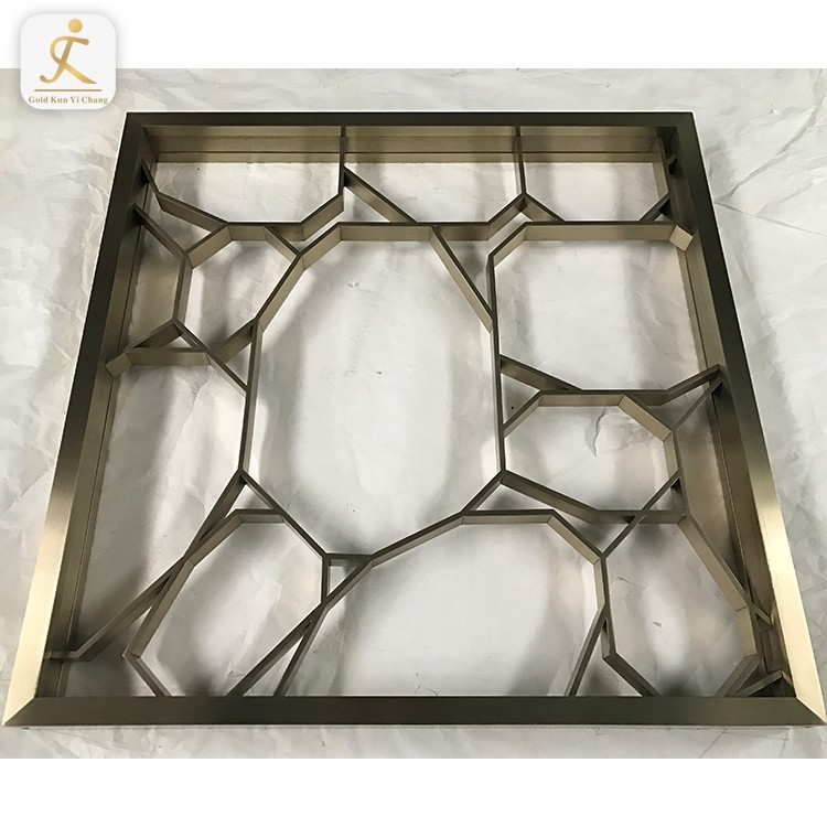 Stainless steel half height room dividersquare small divider for wall decoration custom metal gold lattice room divider