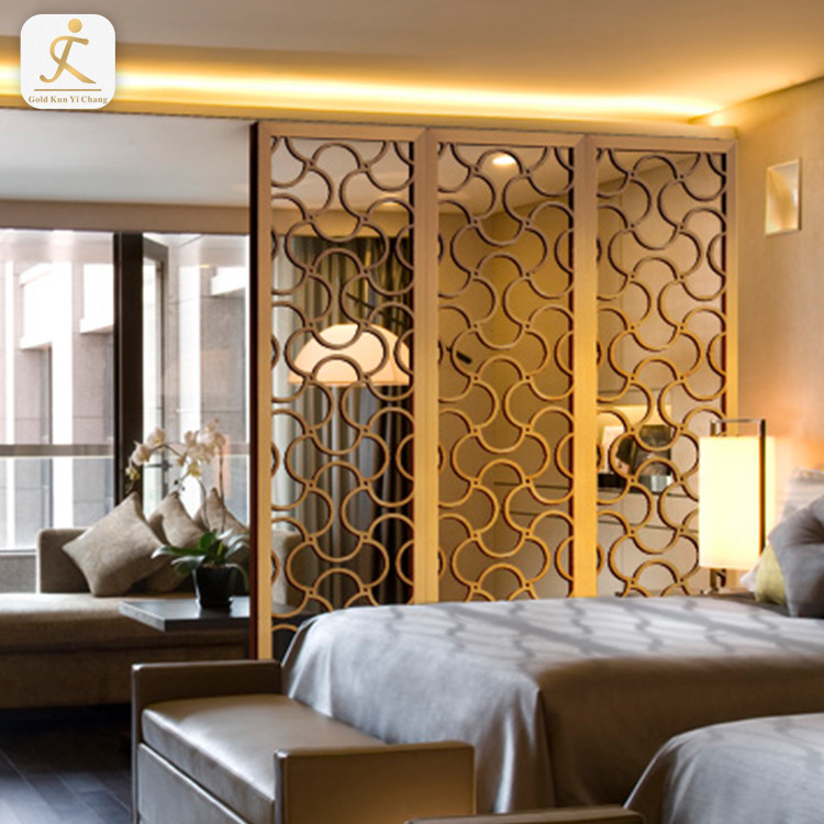 3 panel hollow cut stainless steel hotel room partition Dubai steel framed rectangle decorative laser cut hotel room divider
