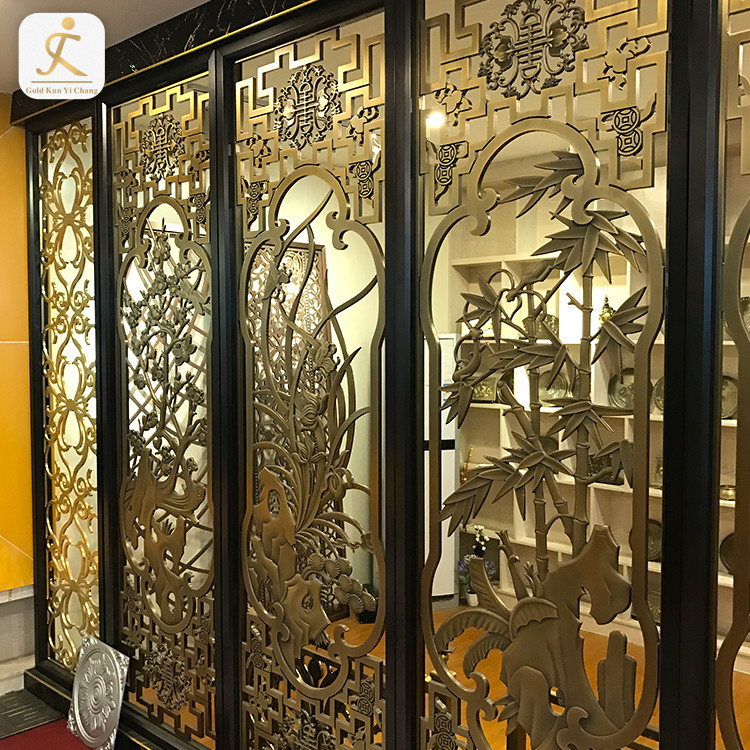 inox cheap decorative living room partition black frame gold hollow cut metal ready made restaurant room partitions