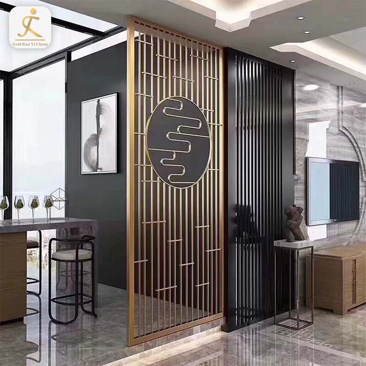 high end customized fixed floor to ceiling room divider hotel decorative laser cutting stainless steel room partition