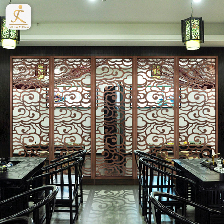 interior public hotel hall steel art screens partitions panel stainless steel 316 laser hollow cut decorative metal screen