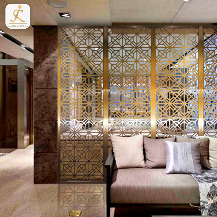 Indian style stainless steel gold metal mesh room screen divider 304 room screen divider 4 panel room partition decoration