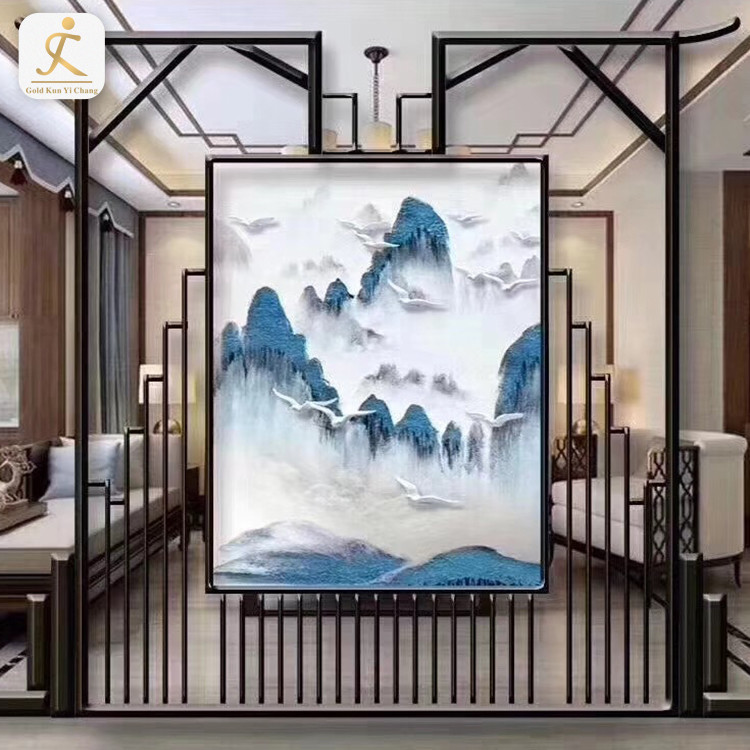 Customized Laser Cut Floor to Ceiling Stainless Steel Divider with Drawing Screen Living Room Restaurant Metal Partition Wall