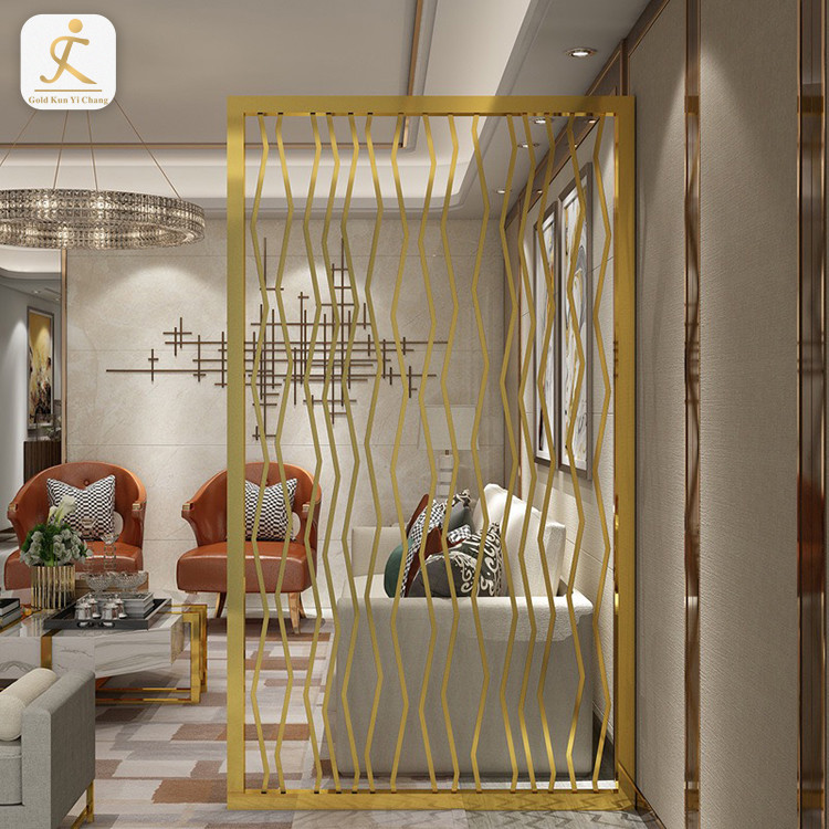 304 high grade luxury gold brushed brass finished room divider room hotel decoration stainless steel divider partition