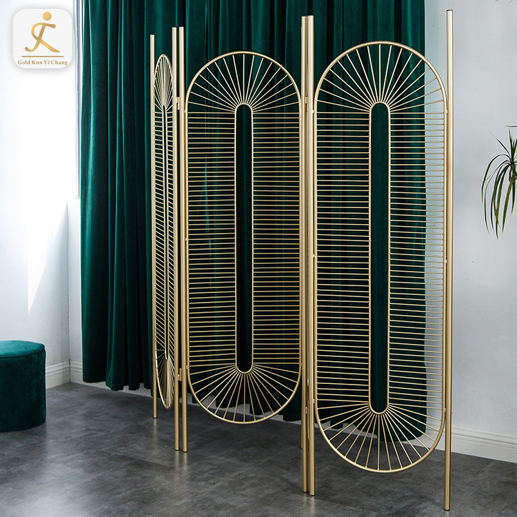 French Style 3 Tri Panel Folding Screen Room Divider Golden Stainless Steel Wedding Room Divider Partition