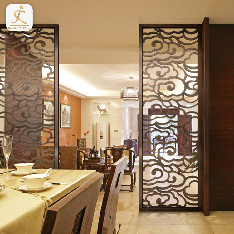 Chinese style antique stainless steel room divider screen for living room laser hollow cut decorative screen and panels