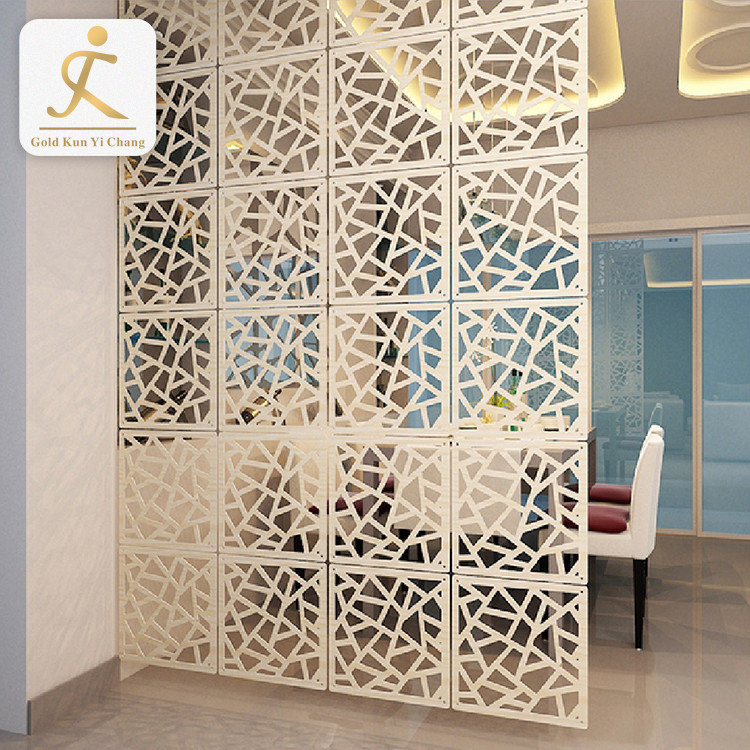 hollow cut 4 steel partition screen for living room art deco laser cut divider room screen metal white screen room divider