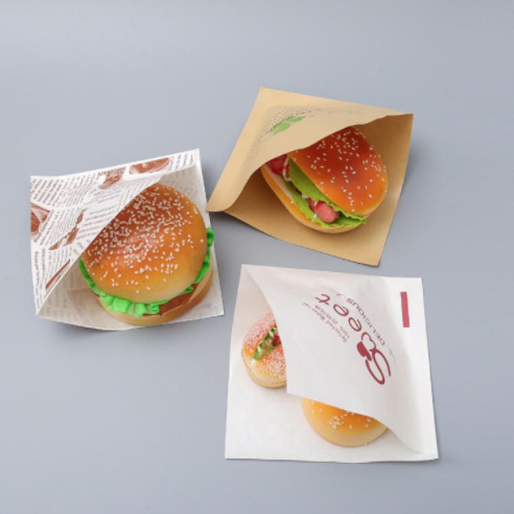 Bag Pocket Food Grade Paper Printed Oil Proof Packaging Sandwich Wrap Burger Aluminum Foil Wood Pulp Offset Printing Coated PE