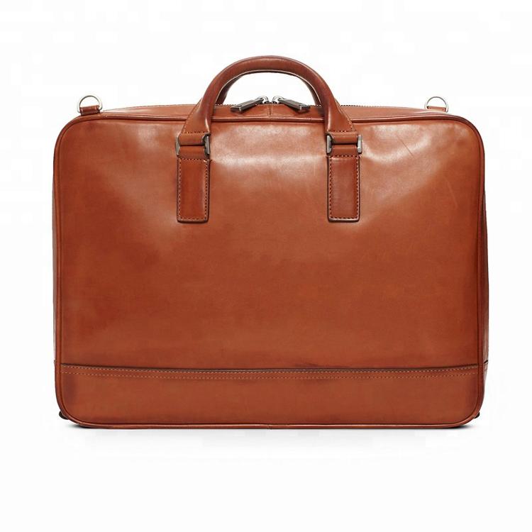 Own Designer brand vintage Brown Men briefcases 100% Genuine Leather large Laptop Single removable Shoulder Bags for man custom