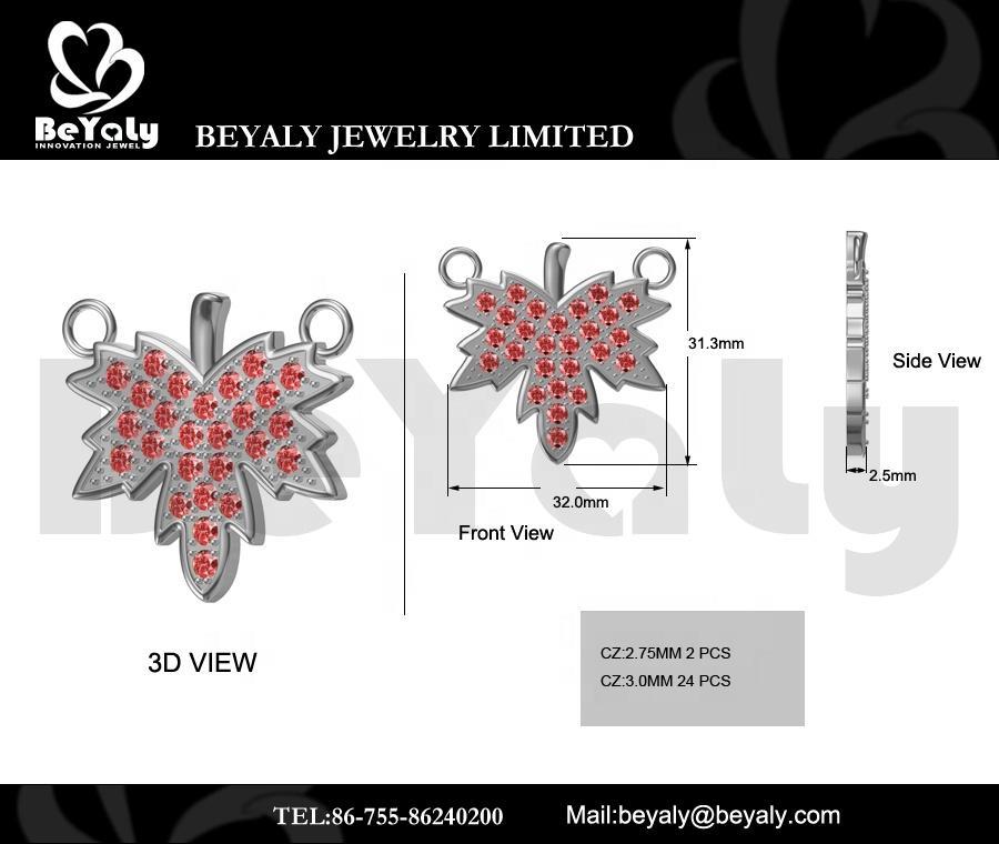 Beyaly OEM & ODM Custom Red Zircon Pave Setting Maple Leaf Necklace Pendant