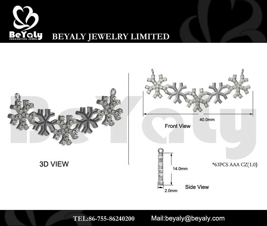 Beyaly OEM & ODM Custom Jewelry Snowflake Design Antler Shape Plate Pendant