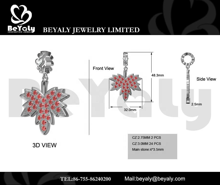 Heart-Shaped Design Bead Custom Charm Maple Leaf Red Cz Silver Pendant