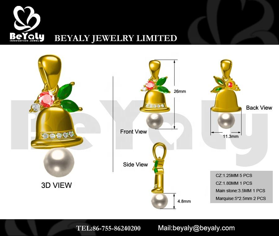 Beyaly OEM & ODM Custom Gold Plated Three Color Geometric Stone Bell Pearl Pendant