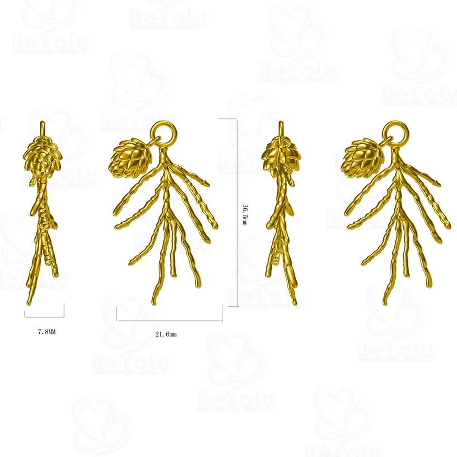Custom Design Gold Plated Imitation Handcrafted Pinecone Tree Branch Pendant