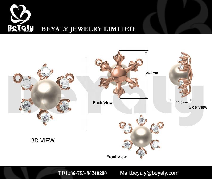 Beyaly OEM & ODM Custom Jewelry Rose Gold Snowflake White Pearl Pendant