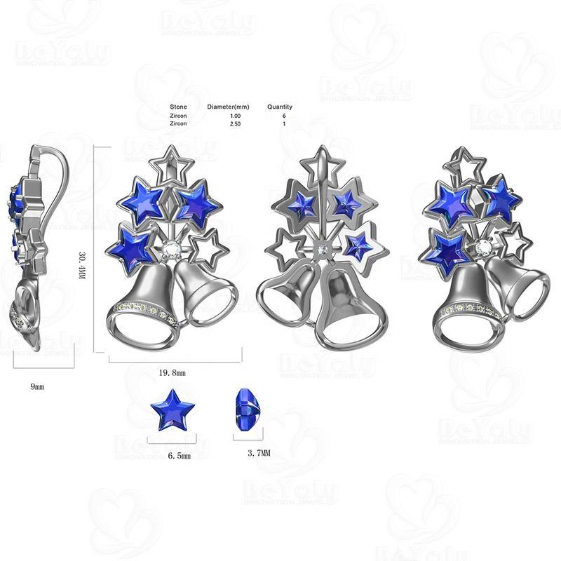 Custom OEM Design Christmas Gift Bell Shape Blue Star Shape Stone Pendant