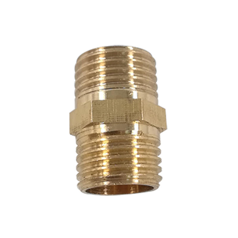 Brass Gold Quick Hose Connector Hex Nipple Threaded Brass Pneumatic Fitting