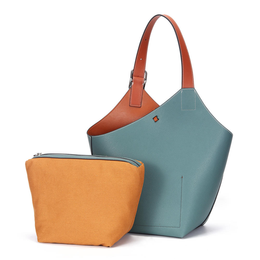 Stock with Removable Interior Pouch Leather Tote Women Shoulder Bucket Bag