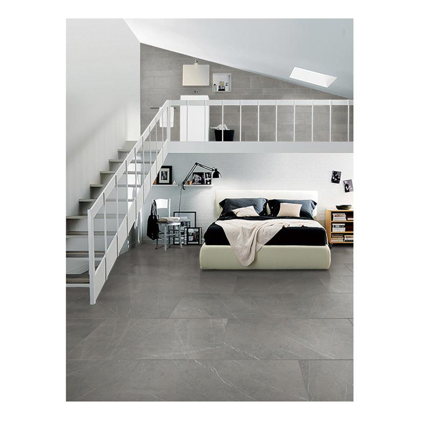 Grey polished porcelain stair tile