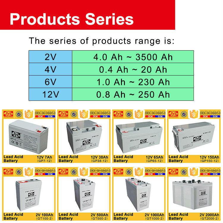 JYC 2V 100Ah AGM Gel Lead Acid Battery 6S1P Formed Solar UPS Deep Cycle Battery 12V 100Ah