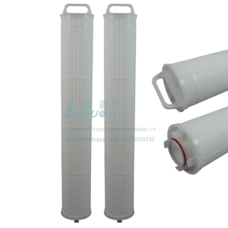 Guangzhou factory supply 40/50/60 inch high flow polypropylene pleated filter cartridge with 10 micron pp/glass fiber membrane