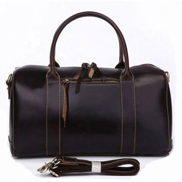 Own Brand Design Luxury Genuine Leather Unisex travel Duffle Weekend bag vintage Compartments Multi-pocket Luggage for Men Women