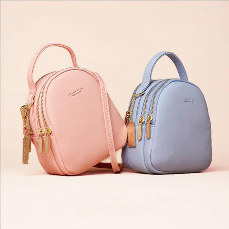 Osgoodway2 High quality multi compartments ladies mini backpack pure color women leather backpack bag