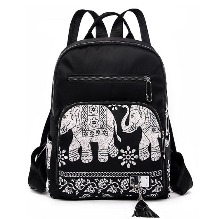 Osgoodway2Elephant Waterproof Nylon Lightweight School Shoulder Bag Fashion Lady College Backpack