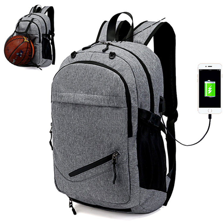 Osgoodway Amazon Hot Selling Men Bags Laptop Charging Backpack with Basketball Net