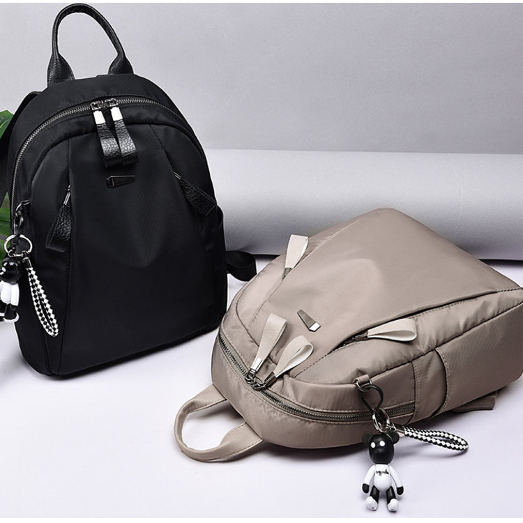 product-Osgoodway-Osgoodway2 Khaki Black Waterproof Oxford Fashion Casual Ladies School Backpack Bag