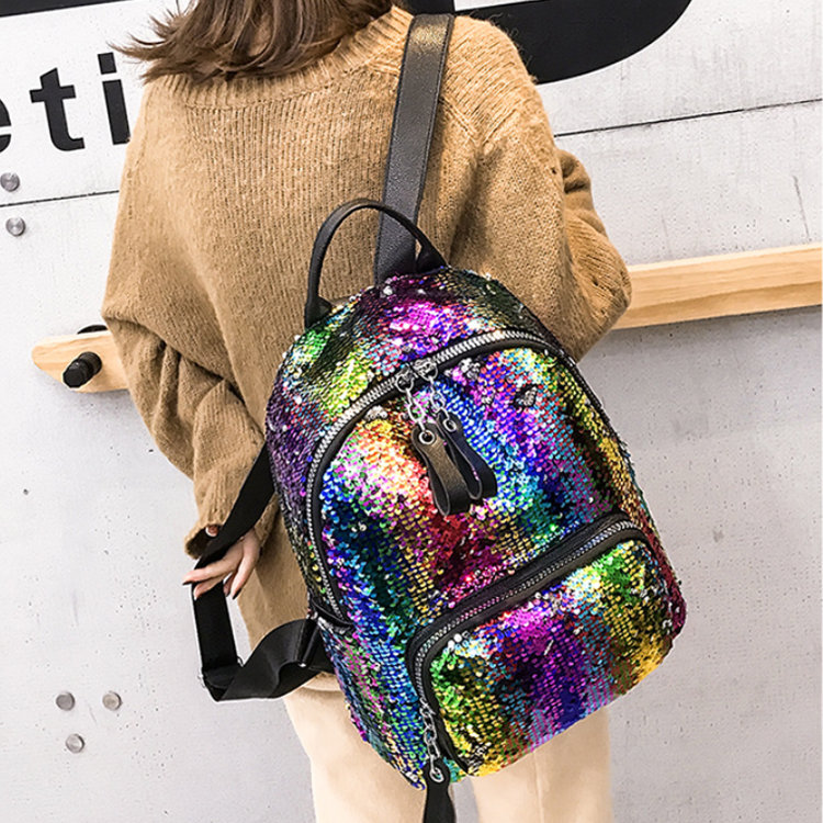 product-Osgoodway-Osgoodway2 Personalized Fashion Rainbow Shining Sequin Bag Women Backpack Back Pac