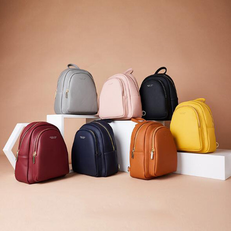 Osgoodway2 Solid color ladies soft PU leather backpack fashionable casual cute small backpack for women