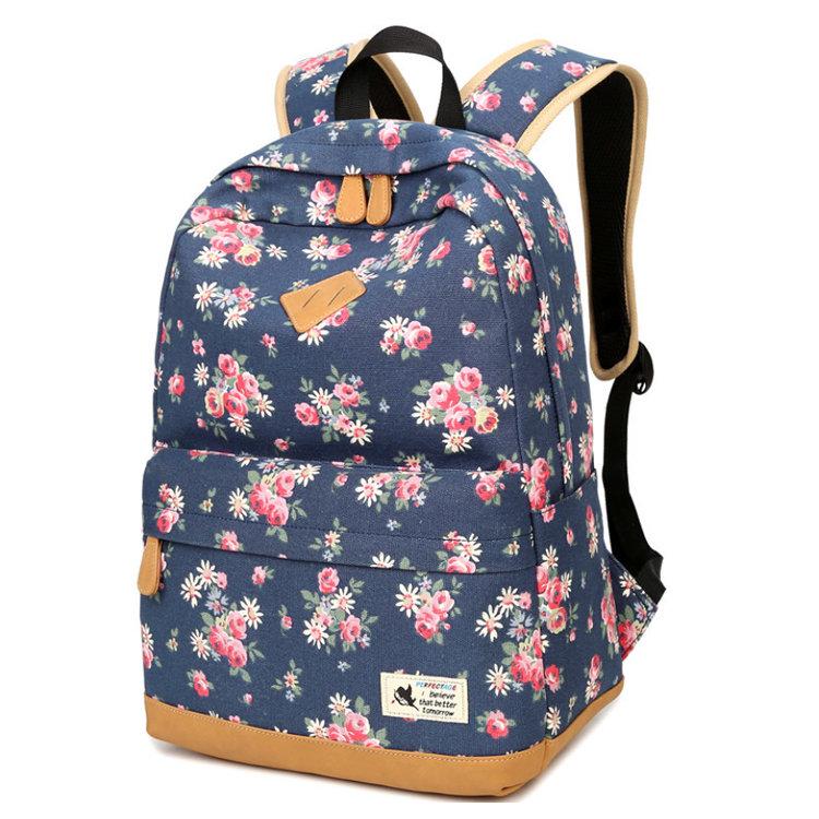 Osgoodway Simple Custom Flower Print Design Canvas Travel School Backpack for Women Girl