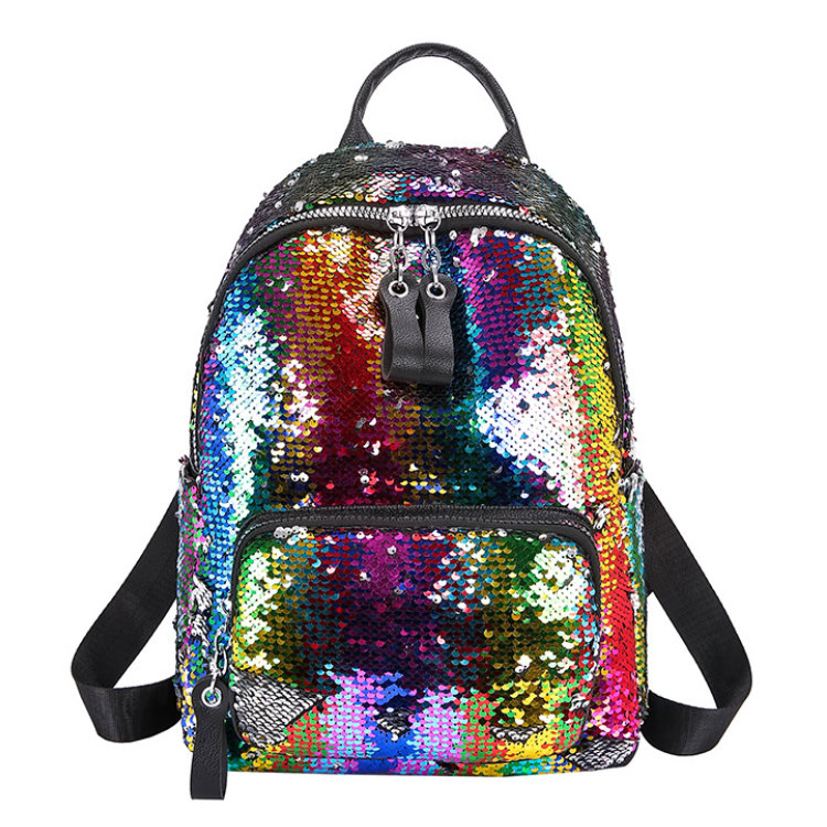 Osgoodway2 Personalized Fashion Rainbow Shining Sequin Bag Women Backpack Back Pack