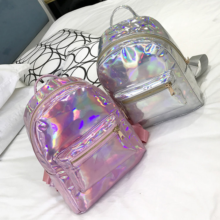 Osgoodway2 Cute Ladies Backpack Stylish Holographic Laser College Backpack Bag for Girls