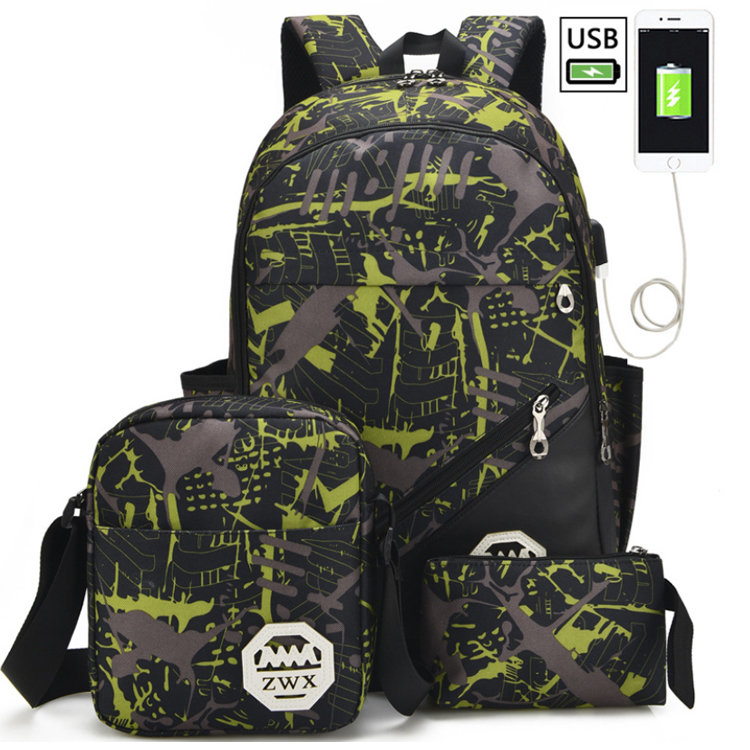 product-Osgoodway-Osgoodway2 Wholesale Boys Backpack Printed 3 Pieces School Backpack Bag Set with U