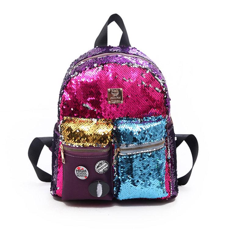 Osgoodway2 2019 New Design Magic Flip Reversible Sequin Backpack for Girls Glitter Mermaid School Book Bag