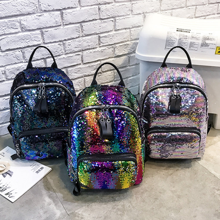 product-Osgoodway2 Women Colorful Glitter Shining Sequin School Backpack Bag Fashion Travelling Back-1