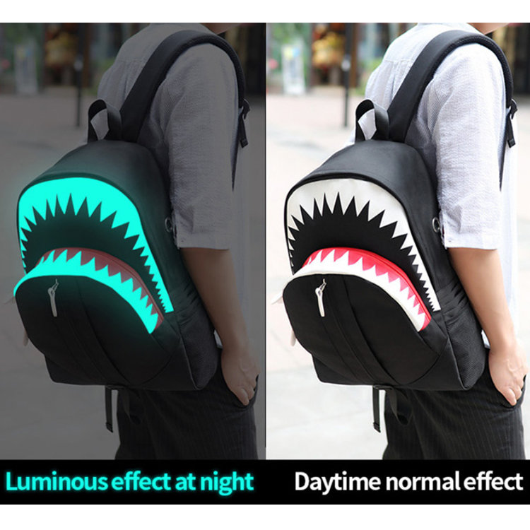 product-Osgoodway-Osgoodway2 Big Mouth Shark Outdoor Safety Magic Luminous USB Charger School Backpa