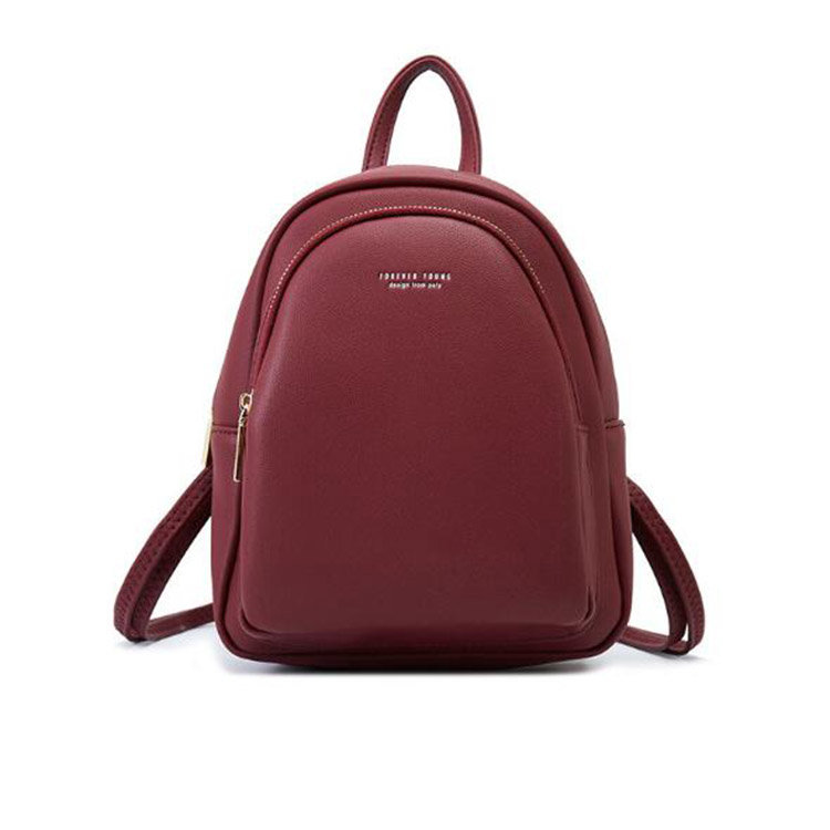 product-Osgoodway-Osgoodway2 Solid color ladies soft PU leather backpack fashionable casual cute sma