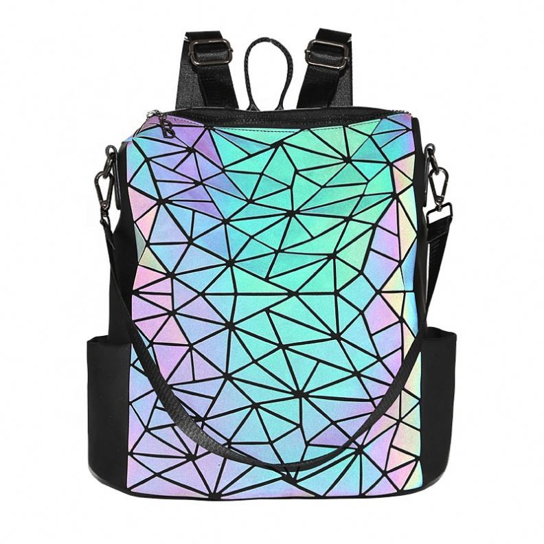 Osgoodway2 Geometric Holographic Luminous Sex Girls School Bag Color Changing Women Designer Backpack